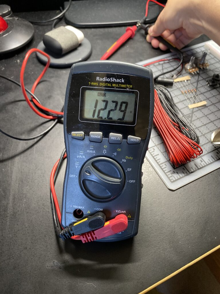 Reading 12.29 volts on a multi-meter
