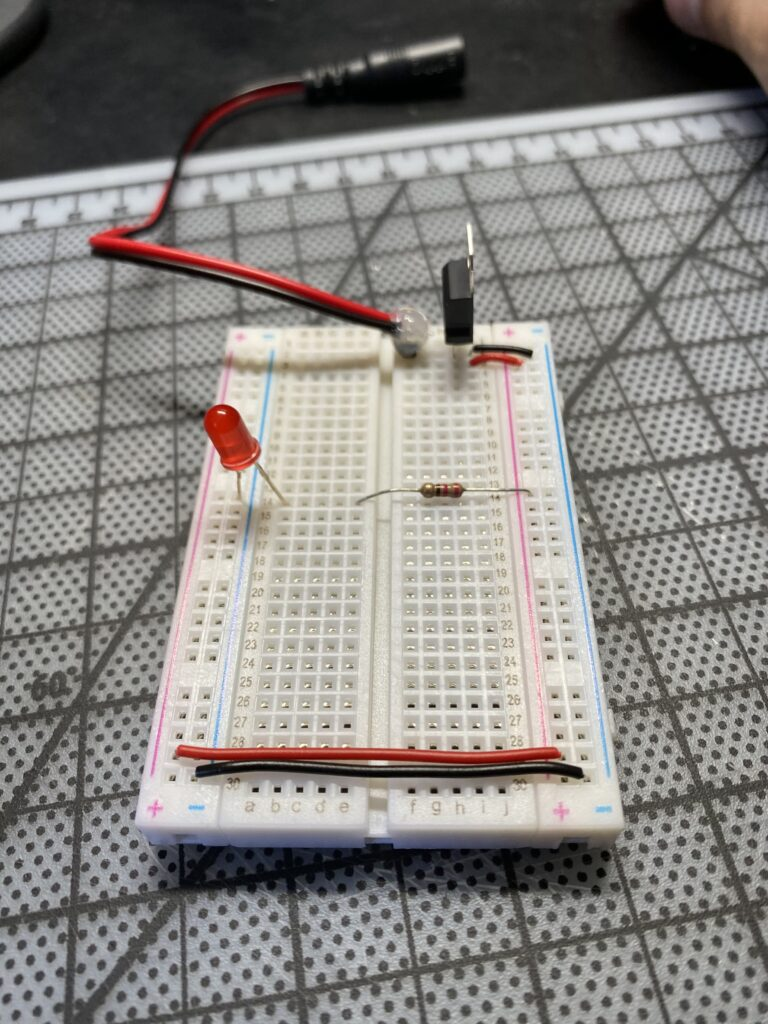 Red LED off on a breadboard
