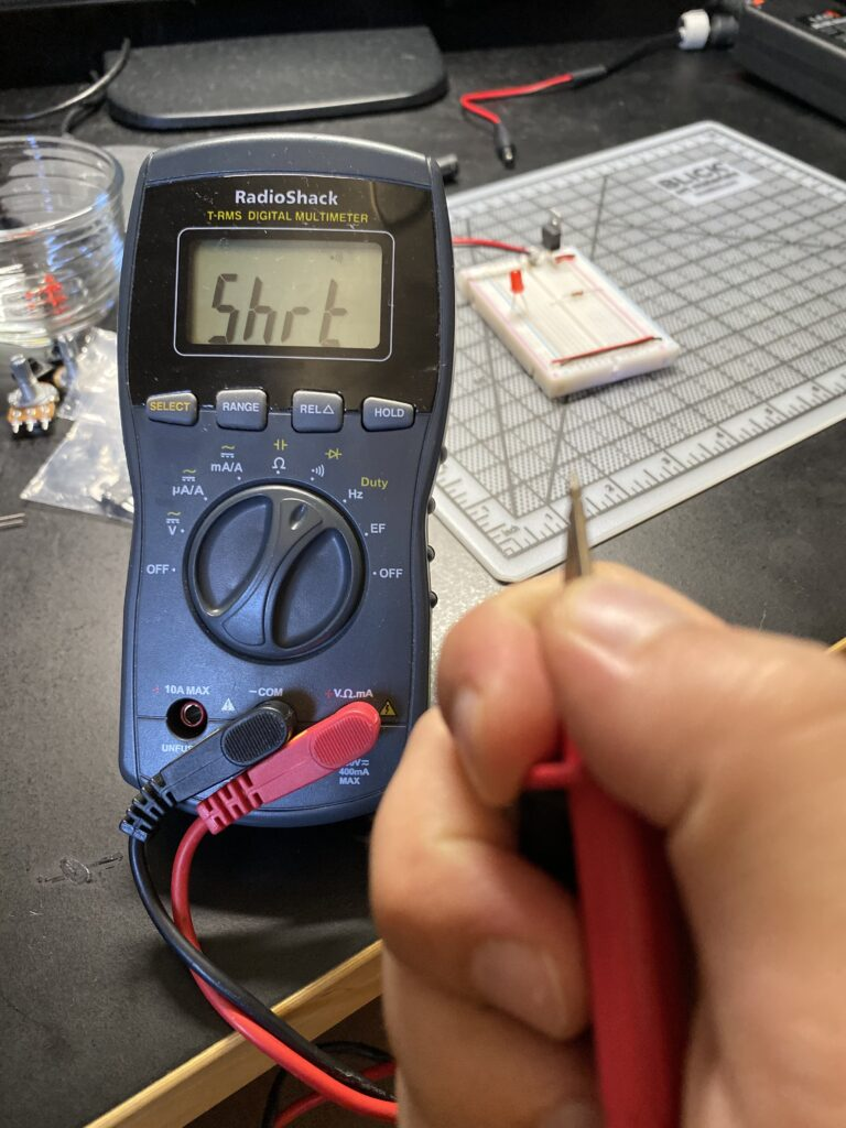 Digital multimeter reading short circuit
