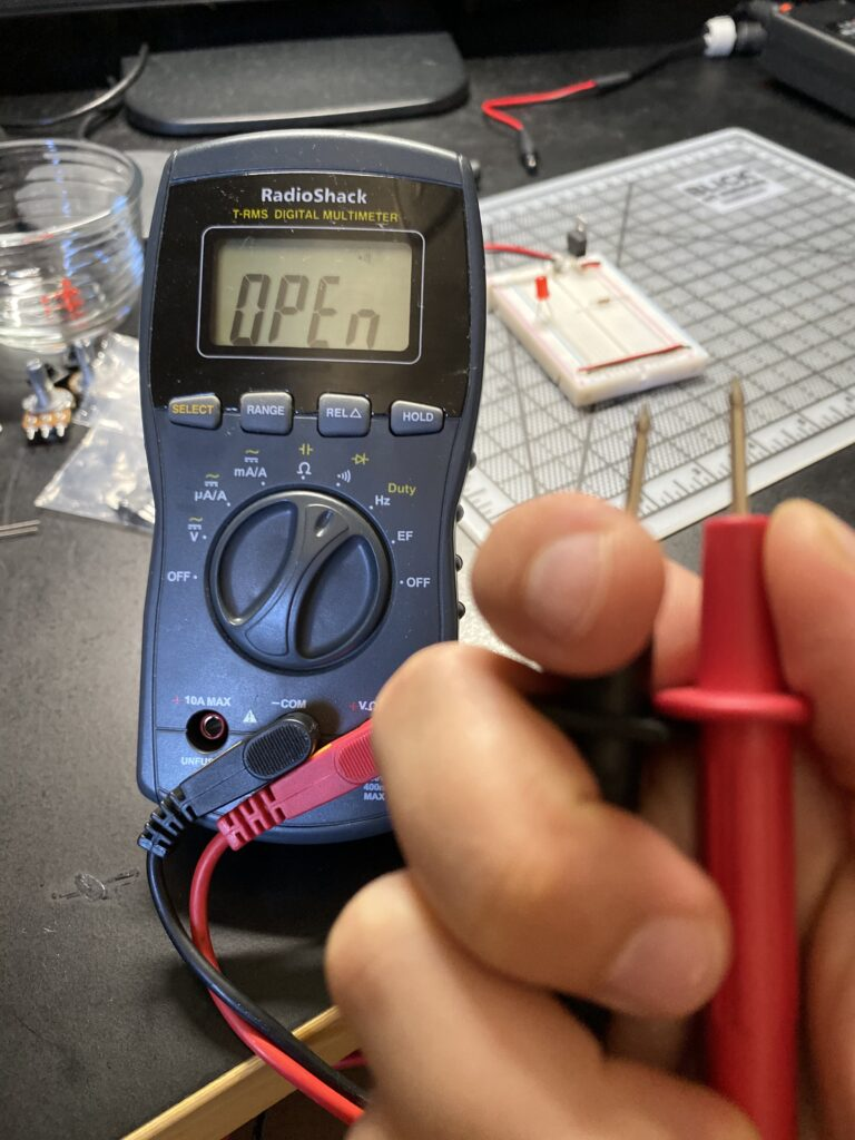 Digital multimeter reading open circuit